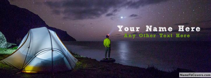 Night Camping Guy Facebook Cover With Name