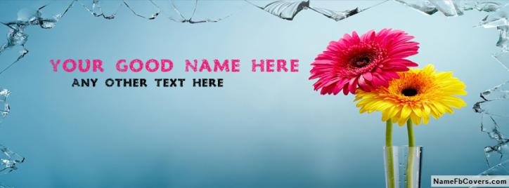 Pink And Yellow Flower Facebook Cover With Name