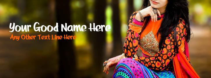 Pretty Colorful Dress Facebook Cover With Name