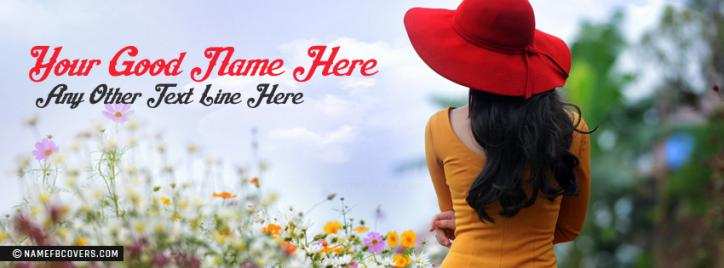 Red Hat Girl Facebook Cover With Name