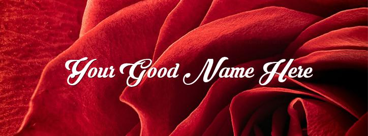 Red Rose Closeup Facebook Cover With Name
