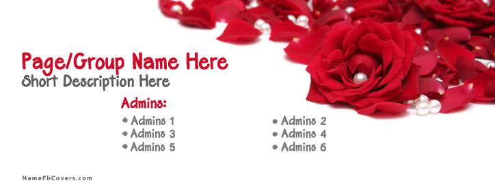 Red Rose Pearls Facebook Cover With Name