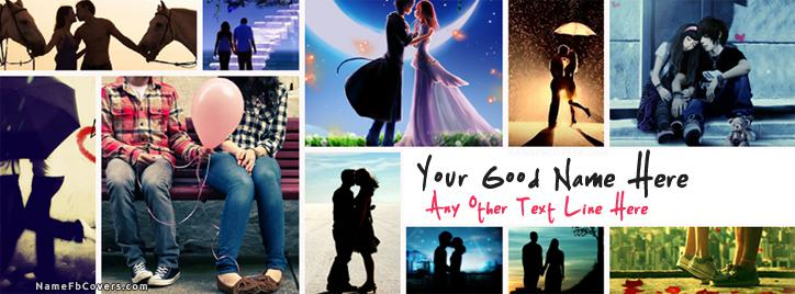 Romantic Couples Facebook Cover With Name