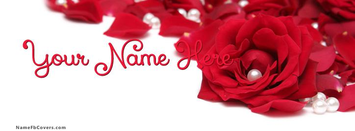 Rose Pearls Facebook Cover With Name