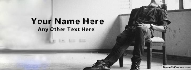 Sad Alone Boy Waiting Facebook Cover With Name
