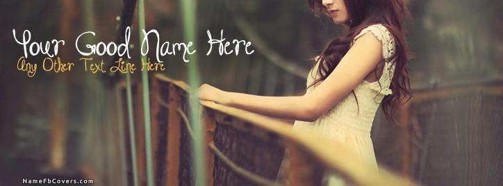 Sad Girl Fense Facebook Cover With Name