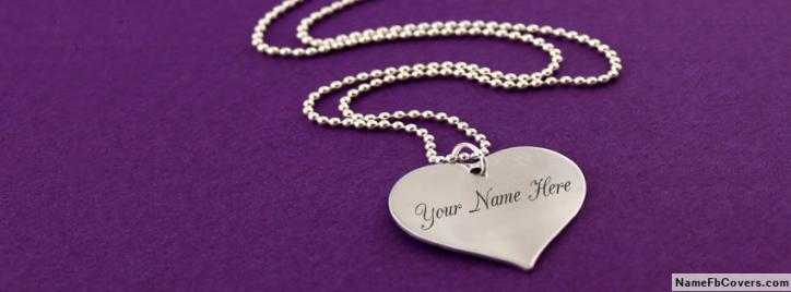 Shining Silver Heart Necklace Facebook Cover With Name