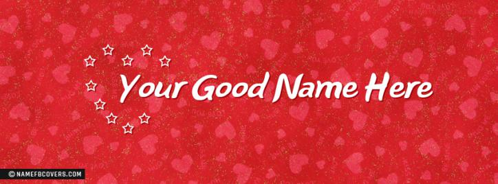 Stars Heart Facebook Cover With Name