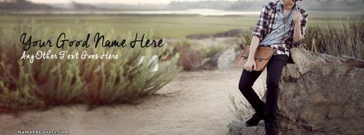 Stylish Dashing Guy Facebook Cover With Name