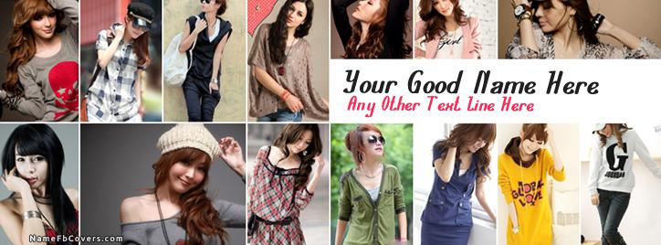 Stylish Girls Facebook Cover With Name