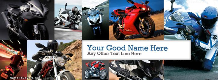Super Bikes Facebook Cover With Name