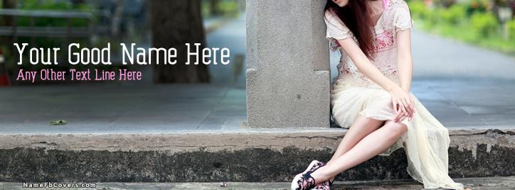 Sweet Girl Waiting Facebook Cover With Name