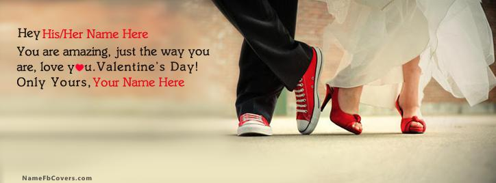 Valentine Day Couple Facebook Cover With Name