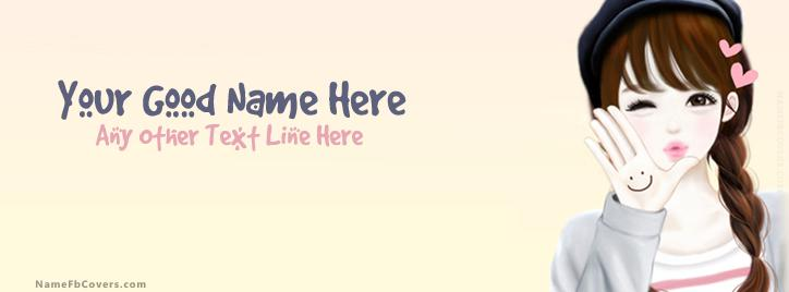 Vector Cute Girl Facebook Cover With Name