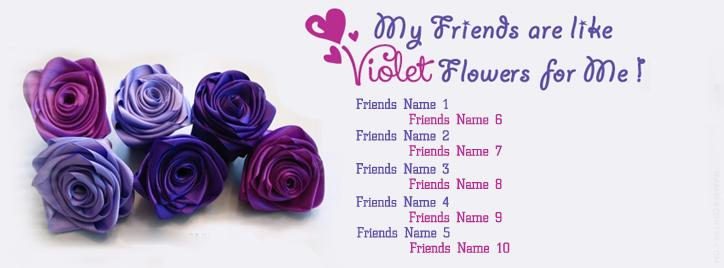 Voilet Flowers Facebook Cover With Name
