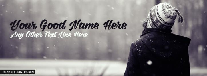 Winter Girl Facebook Cover With Name