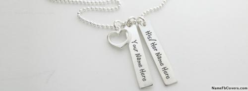 Amazing Silver Heart Necklace For Couple FB Cover With Name