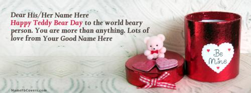 Best Teddy Bear Day FB Cover With Name