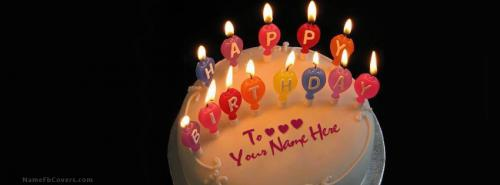 Candles Birthday Cake FB Cover With Name