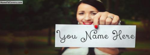 Cool Wedding Bride FB Cover With Name