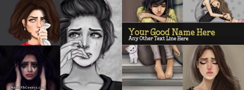 Crying Girls Collage FB Cover With Name