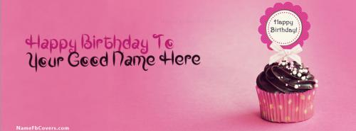 Cupcake Birthday FB Cover With Name