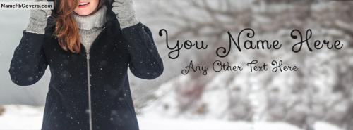 Cute Smiling Girl In Winter FB Cover With Name