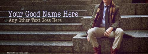 Fashion Dude Sitting FB Cover With Name