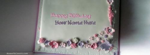 Floral Iced Birthday Cake FB Cover With Name