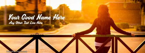 Girl Waiting Sunset FB Cover With Name
