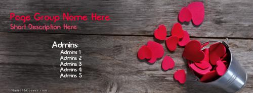 Hearts Bucket FB Name Cover - Groups & Pages Facebook Covers