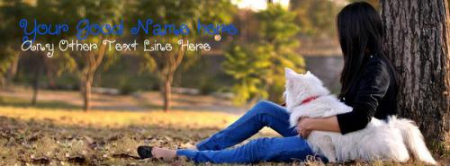 Alone Girl with Dog FB Cover With Name