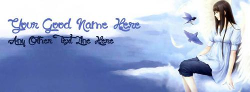 Angel Girl in Sky FB Cover With Name