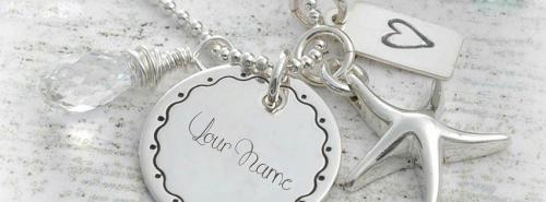 Beautiful Silver Pendant FB Cover With Name