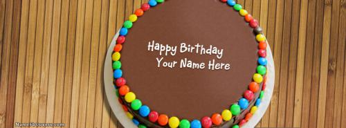 Birthday Chocolate Bunties Cake FB Cover With Name