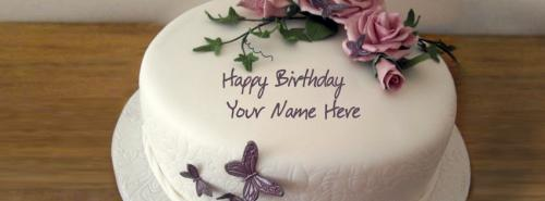 Flower Cake FB Cover With Name