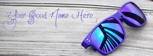 Blue Dashing Sun Glasses FB Cover With Name