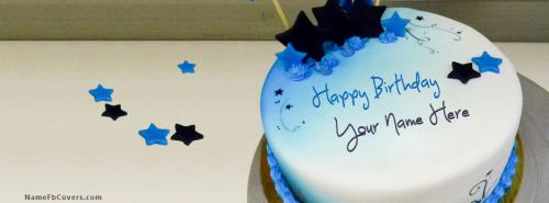 Blue Stars Birthday Cake FB Cover With Name