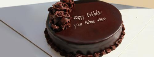 Chocolate Cake Pic With Name : Chocolate Cake for Birthday FB Cover With Name