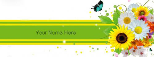 Colorful Flowers FB Cover With Name