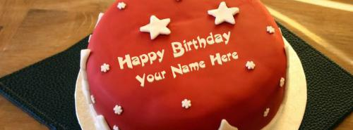 Cool Birthday Cake FB Cover With Name