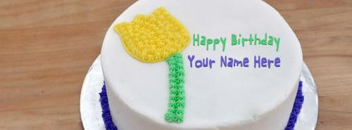 Share Cake Pictures On Facebook : Flower Birthday Cake FB Cover With Name
