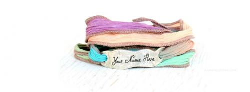 Hand Dyed Silk Wrap Bracelet FB Cover With Name