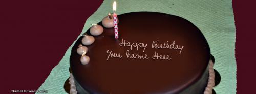 Happy Birthday Chocolate Cake FB Cover With Name