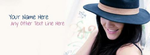 Name Facebook Covers For Girls - Hat Girl Smiling - Tag Line