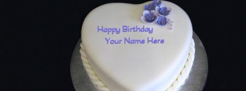 Birthday Cake Pictures To Facebook : Heart Birthday Cake FB Cover With Name