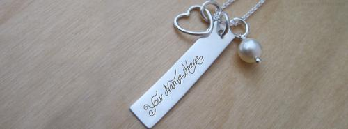 Heart Charm Rectangle Necklace FB Cover With Name