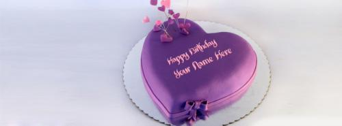 Share Cake Pictures On Facebook : Indigo Heart Birthday Cake FB Cover With Name
