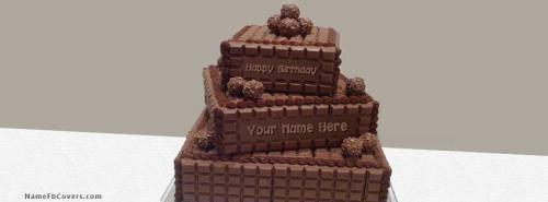 Chocolate Cake Images For Facebook : Layered Chocolate Birthdat Cake FB Cover With Name