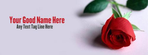 Lovely Red Rose FB Cover With Name